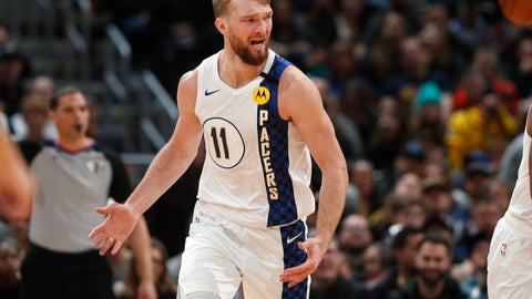 <p>               Indiana Pacers forward Domantas Sabonis argues for a foul in the second half of an NBA basketball game against the Denver Nuggets Sunday, Jan. 19, 2020, in Denver. Indiana won 115-107. (AP Photo/David Zalubowski)             </p>