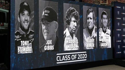 <p>               FILE - In this May 22, 2019, file photo, images of NASCAR's Hall of Fame Class of 2020, from left, Tony Stewart, Joe Gibbs, Waddell Wilson, Buddy Baker and Bobby Labonte are shown on a screen after an announcement in Charlotte, N.C. (AP Photo/Chuck Burton, File)             </p>