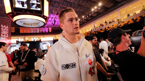 <p>               Clemson linebacker Chad Smith speaks during media day for NCAA College Football Playoff national championship game Saturday, Jan. 11, 2020, in New Orleans. Clemson is scheduled to play LSU on Monday. (AP Photo/Gerald Herbert).             </p>