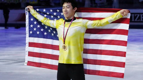 <p>               FILE - In this Dec. 7, 2019, file photo, United States' Nathan Chen celebrates after winning the men's free skate of the figure skating Grand Prix finals at the Palavela ice arena, in Turin, Italy. Chen, master of the quad, is on the verge of skating off with his fourth consecutive title at the U.S. Championships this week. He says such an achievement is not front and center in his mind. (AP Photo/Antonio Calanni, File)             </p>