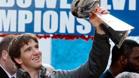 <p>               In this Feb. 7, 2012 file photo New York Giants quarterback Eli Manning holds up the Vince Lombardi Trophy during the team's NFL football Super Bowl parade in New York. Manning, who led the Giants to two Super Bowls in a 16-year career that saw him set almost every team passing record, has retired. The Giants said Wednesday, Jan. 22, 2020 that Manning would formally announce his retirement on Friday. (AP Photo/Julio Cortez, file)             </p>