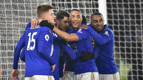 <p>               Leicester players celebrate after Leicester's Ayoze Perez scored his side's third goal during the English Premier League soccer match between Leicester City and West Ham Utd at the King Power Stadium in Leicester, England, Wednesday, Jan. 22, 2020. (AP Photo/Rui Vieira)             </p>
