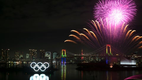 <p>               Fireworks light up the sky near the illuminated Olympic rings during a ceremony held to celebrate the 6-months-to-go milestone for the Tokyo 2020 Olympics Friday, Jan. 24, 2020, in the Odaiba district of Tokyo. (AP Photo/Jae C. Hong)             </p>