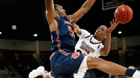 <p>               Auburn center Austin Wiley (50) blocks a shot attempt by Mississippi State guard Tyson Carter (23) during the first half of an NCAA college basketball game, Saturday, Jan. 4, 2020 in Starkville, Miss. (AP Photo/Rogelio V. Solis)             </p>