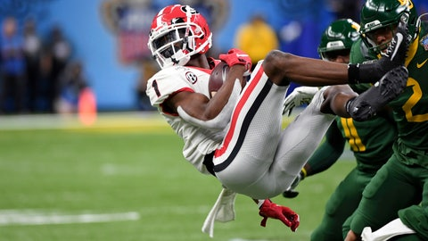 <p>               Georgia wide receiver George Pickens (1) is upended by Baylor linebacker Blake Lynch (2) during the first half of the Sugar Bowl NCAA college football game in New Orleans, Wednesday, Jan. 1, 2020. (AP Photo/Bill Feig)             </p>