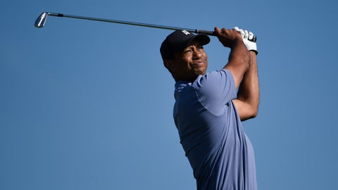 <p>               Tiger Woods hits hit tee shot on the 15th hole of the North Course at Torrey Pines Golf Course during the first round of the Farmers Insurance golf tournament Thursday Jan. 23, 2020, in San Diego. (AP Photo/Denis Poroy)             </p>
