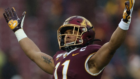 <p>               FILE - In this Nov. 30, 2019, file photo. Minnesota defensive back Antoine Winfield Jr. (11) gestures during an NCAA college football game against Wisconsin, in Minneapolis. Winfield was selected to The Associated Press All-America team, Monday, Dec. 16, 2019. (AP Photo/Stacy Bengs, File)             </p>
