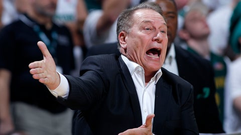 <p>               Michigan State coach Tom Izzo reacts during the first half of an NCAA college basketball game against Michigan, Sunday, Jan. 5, 2020, in East Lansing, Mich. (AP Photo/Al Goldis)             </p>