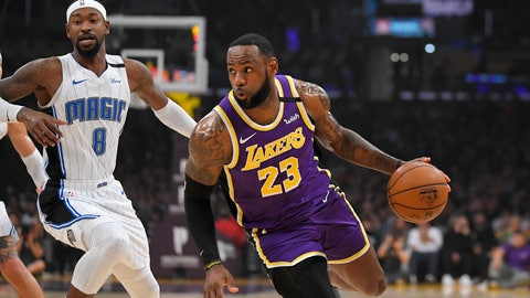 <p>               Los Angeles Lakers forward LeBron James, right, drives toward the basket as Orlando Magic guard Terrence Ross defends during the first half of an NBA basketball game Wednesday, Jan. 15, 2020, in Los Angeles. (AP Photo/Mark J. Terrill)             </p>