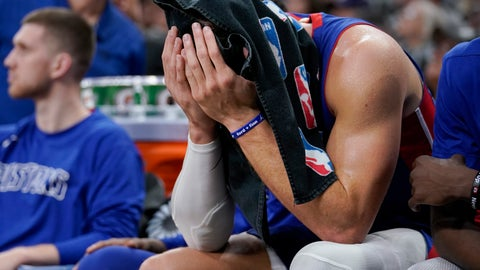 <p>               Detroit Pistons forward Blake Griffin sits on the bench during the second half of the team's NBA basketball game against the San Antonio Spurs, Saturday, Dec. 28, 2019, in San Antonio. San Antonio won 136-109. (AP Photo/Darren Abate)             </p>