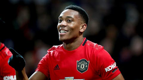 <p>               Manchester United's Anthony Martial celebrates scoring during the English Premier League soccer match between Manchester United and Norwich City at Old Trafford, Manchester, England, Saturday Jan. 11, 2020. (Martin Rickett/PA via AP)             </p>