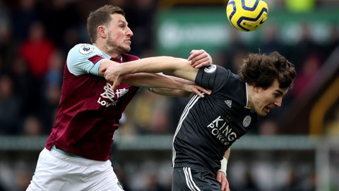 <p>               Burnley's Chris Wood, left, and Leicester City's Caglar Soyuncu during their English Premier League soccer match at Turf Moor in Burnley, England, Sunday Jan. 19, 2020. (Nick Potts/PA via AP)             </p>