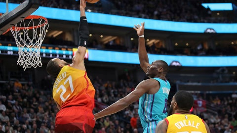 <p>               Utah Jazz center Rudy Gobert (27) blocks the shot of Charlotte Hornets center Bismack Biyombo (8) during the first quarter of an NBA basketball game Friday, Jan. 10, 2020, in Salt Lake City. (AP Photo/Chris Nicoll)             </p>