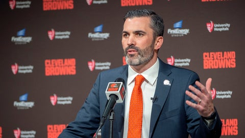 <p>               Cleveland Browns new NFL football head coach Kevin Stefanski answers a question during a news conference at FirstEnergy Stadium in Cleveland, Tuesday, Jan. 14, 2020. (AP Photo/Phil Long)             </p>