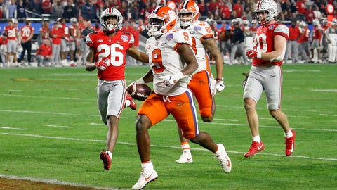 <p>               Clemson running back Travis Etienne scores a touchdown against Ohio State during the second half of the Fiesta Bowl NCAA college football playoff semifinal Saturday, Dec. 28, 2019, in Glendale, Ariz. (AP Photo/Ross D. Franklin)             </p>