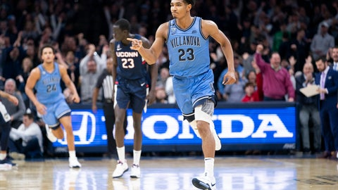 <p>               Villanova's Jermaine Samuels reacts to his basket during the second half of an NCAA college basketball game against Connecticut, Saturday, Jan. 18, 2020, in Philadelphia. Villanova won 61-55. (AP Photo/Chris Szagola)             </p>