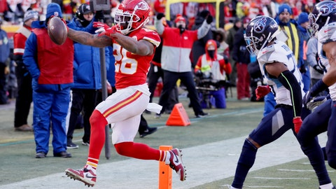 <p>               Kansas City Chiefs' Damien Williams runs for a touchdown during the second half of the NFL AFC Championship football game against the Tennessee Titans Sunday, Jan. 19, 2020, in Kansas City, MO. (AP Photo/Charlie Neibergall)             </p>
