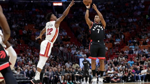 <p>               Toronto Raptors guard Kyle Lowry (7) attempts a 3-pointer as Miami Heat forward Jimmy Butler (22) defends during the first half of an NBA basketball game, Thursday, Jan. 2, 2020, in Miami. (AP Photo/Lynne Sladky)             </p>