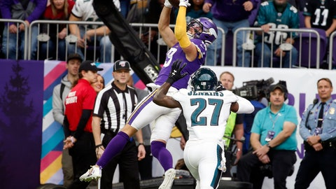 <p>               FILE - In this Sunday, Oct. 13, 2019 file photo, Minnesota Vikings wide receiver Adam Thielen, left, tries to catch a pass over Philadelphia Eagles strong safety Malcolm Jenkins (27) during the first half of an NFL football game in Minneapolis. Adam Thielen's season has been hamstrung by a hamstring injury, but the two-time Pro Bowl wide receiver remains an integral part of the offense for the Minnesota Vikings as evidenced by his diving catch in overtime to set up the playoff game win at New Orleans. (AP Photo/Bruce Kluckhohn, File)             </p>