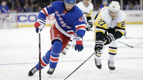 <p>               FILE - In this Nov. 12, 2019, file photo, Pittsburgh Penguins' Nick Bjugstad (27) fights for control of the puck with New York Rangers' Brendan Smith (42) during the second period of an NHL hockey game in New York. Smith is one of a couple of throwback-style players bouncing back between forward and defense this NHL season. (AP Photo/Frank Franklin II, File)             </p>