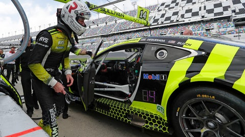 <p>               Kyle Busch climbs in his car for a turn to drive during testing for the upcoming Rolex 24 hour auto race at Daytona International Speedway, Friday, Jan. 3, 2020, in Daytona Beach, Fla. (AP Photo/John Raoux)             </p>