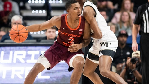 <p>               Virginia Tech guard Landers Nolley II (2) dribbles into defense from Wake Forest forward Isaiah Mucius (1) during an NCAA college basketball game Tuesday, Jan. 14, 2020 in Winston-Salem, N.C. (Andrew Dye/Winston-Salem Journal via AP)             </p>