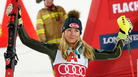 <p>               United States' Mikaela Shiffrin celebrates after taking third place an alpine ski, women's World Cup slalom in Flachau, Austria, Tuesday, Jan. 14, 2020. (AP Photo/Giovanni Auletta)             </p>