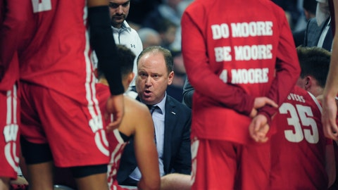 <p>               Wisconsin coach Greg Gard talks to his players during a time out late in the second half of an NCAA college basketball game with Penn State, Saturday, Jan. 11, 2020, in State College, Pa. (AP Photo/Gary M. Baranec)             </p>