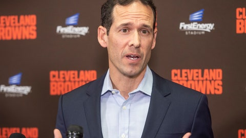 <p>               Paul DePodesta, chief strategy officer for the NFL football Cleveland Browns answers a question during a news conference at FirstEnergy Stadium in Cleveland, Tuesday, Jan. 14, 2020. (AP Photo/Phil Long)             </p>