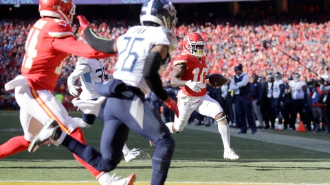 <p>               Kansas City Chiefs' Tyreek Hill (10) runs for a touchdown during the first half of the NFL AFC Championship football game against the Tennessee Titans Sunday, Jan. 19, 2020, in Kansas City, MO. (AP Photo/Jeff Roberson)             </p>