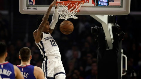 <p>               Memphis Grizzlies' Ja Morant (12) dunks against the Los Angeles Clippers during the first half of an NBA basketball game Saturday, Jan. 4, 2020, in Los Angeles. (AP Photo/Marcio Jose Sanchez)             </p>