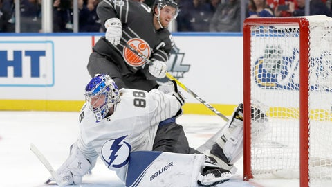 <p>               Tampa Bay Lightning goalie Andrei Vasilevskiy (88) reaches back to block a shot by Edmonton Oilers forward Connor McDavid (97) in the NHL hockey All Star final game Saturday, Jan. 25, 2020, in St. Louis. (AP Photo/Jeff Roberson)             </p>
