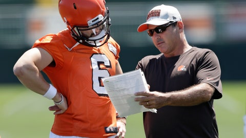 <p>               FILE - In this July 26, 2018, file photo, Cleveland Browns quarterbacks coach Ken Zampese, right, talks with quarterback Baker Mayfield at the NFL football team's training camp facility, in Berea, Ohio. The Washington Redskins have hired Ken Zampese as their quarterbacks coach on Ron Rivera's new-look staff. The team revealed Rivera's full staff on Wednesday, Jan. 15, 2020. (AP Photo/Tony Dejak, File)             </p>