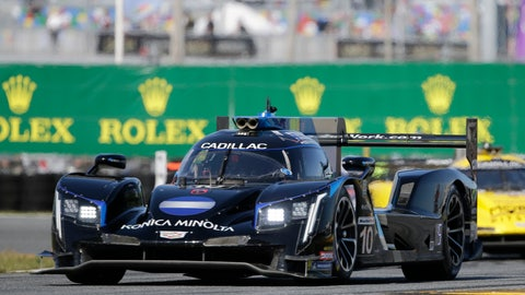 <p>               Ryan Briscoe drives the Konica Minolta Cadillac DPi-V.R during the Rolex 24 hour auto race at Daytona International Speedway, Saturday, Jan. 25, 2020, in Daytona Beach, Fla. (AP Photo/Terry Renna)             </p>