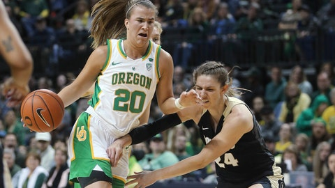<p>               Oregon's Sabrina Ionescu, left, drives to the basket as Colorado's Aubrey Knight defends during the second quarter of an NCAA college basketball game in Eugene, Ore., Friday, Jan. 3, 2020. (AP Photo/Chris Pietsch)             </p>