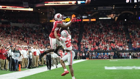 <p>               Wisconsin wide receiver Quintez Cephus (87) makes a catch against Ohio State cornerback Cameron Brown (26) during the first half of the Big Ten championship NCAA college football game Saturday, Dec. 7, 2019, in Indianapolis. (AP Photo/AJ Mast)             </p>