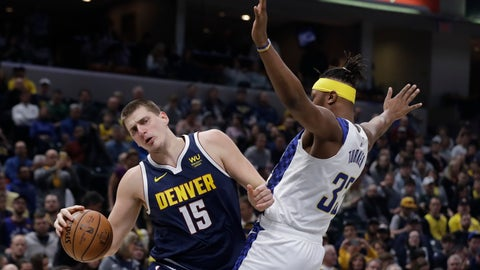<p>               Denver Nuggets' Nikola Jokic (15) goes to the basket against Indiana Pacers' Myles Turner (33) during the first half of an NBA basketball game Thursday, Jan. 2, 2020, in Indianapolis. (AP Photo/Darron Cummings)             </p>