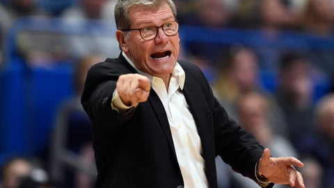 <p>               Connecticut head coach Geno Auriemma calls out to an official in the second half of an NCAA college basketball game against Houston, Saturday, Jan. 11, 2020, in Hartford, Conn. (AP Photo/Jessica Hill)             </p>
