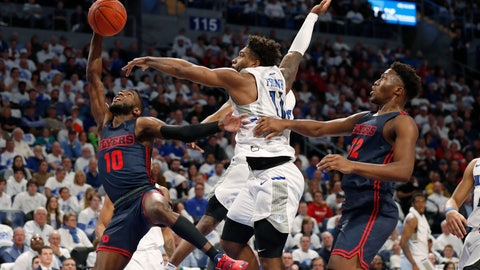 <p>               Dayton's Jalen Crutcher (10) has the ball knocked away by Saint Louis' Hasahn French (11) as Dayton's Jordy Tshimanga (32) watches during the first half of an NCAA college basketball game Friday, Jan. 17, 2020, in St. Louis. (AP Photo/Jeff Roberson)             </p>