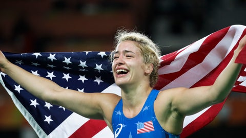 <p>               FILE - In this Thursday, Aug. 18, 2016, file photo, United States' Helen Louise Maroulis celebrates after winning the gold medal during the women's 53-kg freestyle wrestling competition at the 2016 Summer Olympics in Rio de Janeiro. Maroulis was one of the most celebrated Olympians in 2016 when she became the first American to win a gold medal in women's wrestling, and she was expected to be one of the faces of the sport in Tokyo in 2020. She still might be if she's able to qualify. (AP Photo/Markus Schreiber, File)             </p>