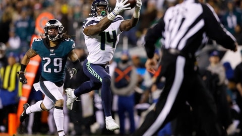 <p>               Seattle Seahawks' D.K. Metcalf (14) catches a touchdown pass as Philadelphia Eagles' Avonte Maddox (29) trails during the second half of an NFL wild-card playoff football game, Sunday, Jan. 5, 2020, in Philadelphia. (AP Photo/Matt Rourke)             </p>