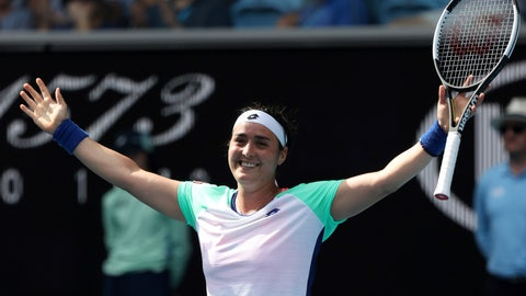 <p>               Tunisia's Ons Jabeur celebrates after defeating China's Wang Qiang in their fourth round singles match at the Australian Open tennis championship in Melbourne, Australia, Sunday, Jan. 26, 2020. (AP Photo/Dita Alangkara)             </p>