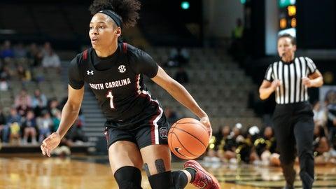 <p>               South Carolina guard Zia Cooke plays against Vanderbilt in the first half of an NCAA college basketball game Sunday, Jan. 12, 2020, in Nashville, Tenn. (AP Photo/Mark Humphrey)             </p>