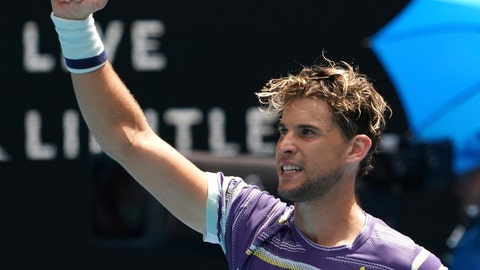 <p>               Austria's Dominic Thiem celebrates after defeating France's Gael Monfils in their fourth round singles match at the Australian Open tennis championship in Melbourne, Australia, Monday, Jan. 27, 2020. (AP Photo/Lee Jin-man)             </p>
