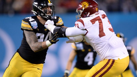 <p>               Iowa defensive end A.J. Epenesa, left, is blocked by Southern California offensive tackle Austin Jackson (73) during the first half of the Holiday Bowl NCAA college football game Friday, Dec. 27, 2019, in San Diego. (AP Photo/Orlando Ramirez)             </p>