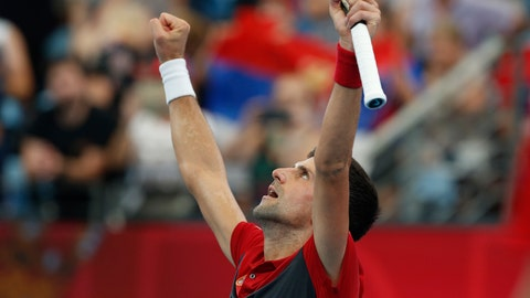 <p>               Novak Djokovic of Serbia reacts to winning match point against Denis Shapovalov of Canada during their ATP Cup tennis match in Sydney, Friday, Jan. 10, 2020. (AP Photo/Steve Christo)             </p>