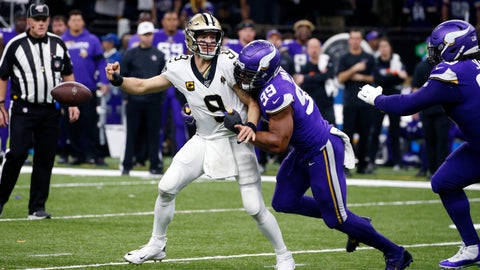 <p>               New Orleans Saints quarterback Drew Brees (9) fumbles as he is hit by Minnesota Vikings defensive end Danielle Hunter (99) in the second half of an NFL wild-card playoff football game, Sunday, Jan. 5, 2020, in New Orleans. (AP Photo/Butch Dill)             </p>