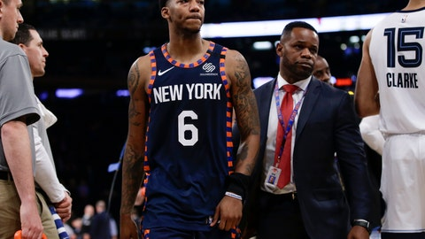 <p>               New York Knicks' Elfrid Payton (6) leaves the court after being ejected during the second half of the team's NBA basketball game against the Memphis Grizzlies on Wednesday, Jan. 29, 2020, in New York. The Grizzlies won 127-106. (AP Photo/Frank Franklin II)             </p>
