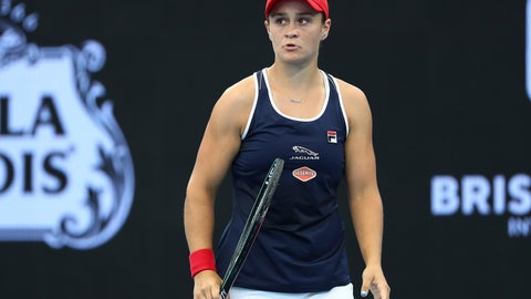 <p>               Ashleigh Barty of Australiareacts after missing a point during her match against Jennifer Brady of the United States at the Brisbane International tennis tournament in Brisbane, Australia, Thursday, Jan. 9, 2020. (AP Photo/Tertius Pickard)             </p>