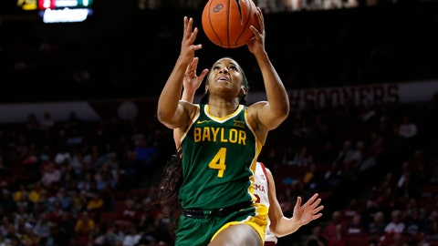 <p>               Baylor guard Te'a Cooper (4) shoots in front of Oklahoma guard Gabby Gregory, rear, in the first half of an NCAA college basketball game in Norman, Okla., Saturday, Jan. 4, 2020. (AP Photo/Sue Ogrocki)             </p>